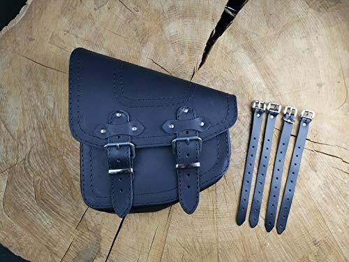 Bullet Black von ORLETANOS kompatibel mit Fatboy Heritage Starrahmen Harley Davidson Schwingentasche Satteltasche Linke Seite Seitentaschen Werkzeugtasche Fatbob 2020 Leder schwarz