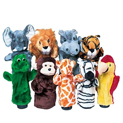 """Constructive Playthings Wild Animal 10"""" H. Plush Puppet Set of 9 Including Elephant, Lion, Hippo, Tiger, Alligator, Monkey, Giraffe, Zebra and Bird Appropriate for All Ages by US Toy & Constuctive Playthings"""