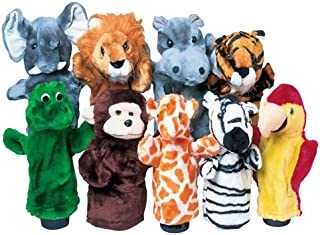 "Constructive Playthings Wild Animal 10"" H. Plush Puppet Set of 9 Including Elephant, Lion, Hippo, Tiger, Alligator, Monkey..."