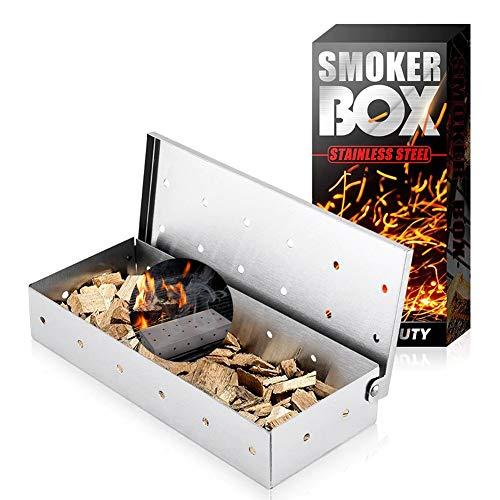 Räucherbox, Edelstahl Smokerbox für Gasgrill, Kohlegrill, Holzkohlegrills & Kugelgrill Raucherbox, Smoke Box Grill Räucherkasten Grillzubehör für Feinste Raucharomen - Silber (Ohne BBQ Räucherchips)