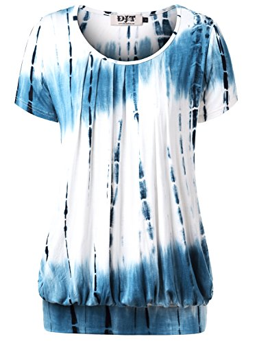 DJT Damen Casual Falten Kurzarm T-Shirt Kurzarmshirt Rundhals Stretch Tunika Tie Dye Blau XL