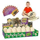 E-More Kit di Scavo di Uova di Dinosauro 12 Pezzi, Scopri 12 Diversi Dinosauri, Giocattolo Festa di Pasqua STEM Giocattoli Educativi di Apprendimento per 6+ Anni Ragazzi Ragazze Bambini Regalo