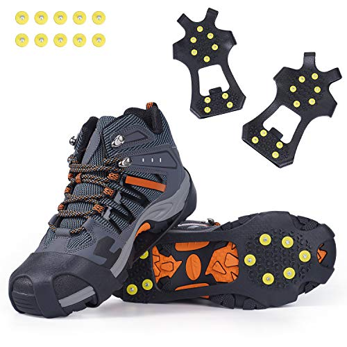 STARVII Crampons for Shoes and Boots, Anti Slip Ice Cleats for Men and Women, 10 Teeth TPE Rubber Traction Cleats Suitable for Hiking, Mountaineering, Fishing, S/M/L/XL (Extra 10 Studs) (Medium)