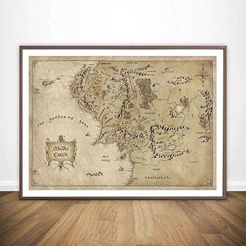 Lienzo Pintura Mapa de la Tierra Media de El Señor de los Anillos película Arte Pintura de la Pared decoración de la Pared Arte de la impresión de la Lona Impresiones Pintura No Frame Pinturas