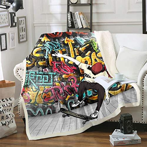 Manta de felpa para niños con diseño de graffiti colorido para sofá, cama, decoración de deportes extremos, tabla de patinar, Sherpa, manta de estilo hip hop, manta difusa para doble de 152 x 192 cm