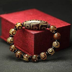 YiGanQiang 9-Auge-Armband mit Dzi-Perlen Dreiäugiges Dzi-Armband im tibetischen Stil, neunäugiges Dzi-Armband,Amulett-Armreif zieht Positive Energie und Glück an (Color : A)