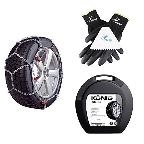 BB-EP Chaînes à neige pour SUV et camionnettes – Convient pour les pneus de taille 195/75 R16 (uniquement pour Michelin Agilis Alpin, Continental Vanco2, Colle Transpro) – KÖNIG – Lot de gants et grattoirs à glace