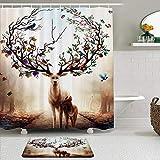 Juego de Cortinas y tapetes de Ducha de Tela,Alce Pintado Asta Planta Flor Pájaro Fruta Paisaje Fantasía,Cortinas de baño repelentes al Agua con 12 Ganchos, alfombras Antideslizantes