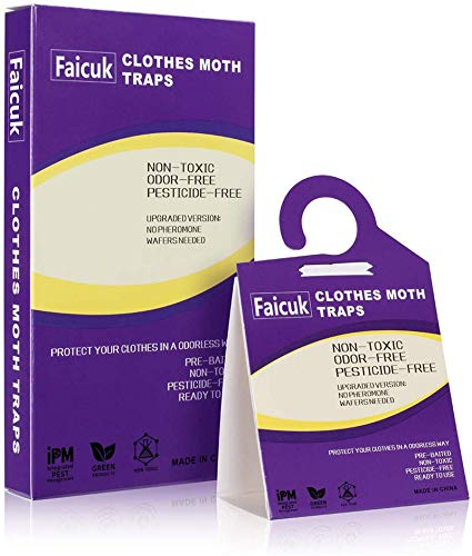 Faicuk Clothes Moth Traps with Pheromone Attractant for Closet and Carpet 6 Pack