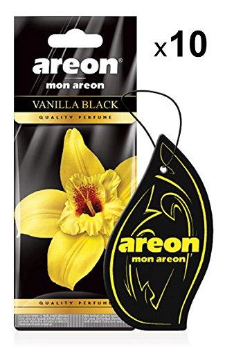 AREON Mon Ambientador Coche Vainilla Negra Vanilla Black Casa Colgante Colgar Olor Perfume Original Cartón Retrovisor Oficina 2D (Pack de 10)