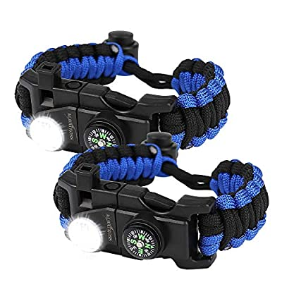ALBATROSS 20-in-1Multifunction Survival Paracord Bracelet - Tactical Emergency Gear Kit Included SOS LED Light, Fire Starter, 550 Grade,Compass, Whistle,Tool Card,T Shape Card - 2 Pack (Blue)