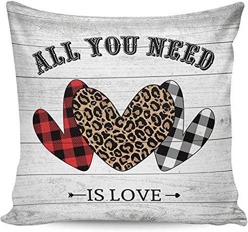Happy Valentine's Day Leopard Love Fundas de almohada de grano de madera con forma de corazón,18 x 18 pulgadas,funda de almohada cuadrada,suave y moderna funda de almohada para sofá para decoración d