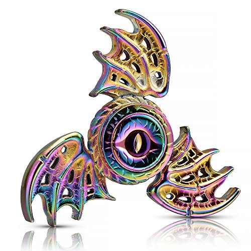 MAYBO SPORTS Wiitin Dragon Wings Eyes Fidget Spinner Toy Made by Metal, Tri Hand Spinner Low Noise High Speed Focus Toy with Steel Self-Lubricating Bearing,Phoenix,Rainbow Color