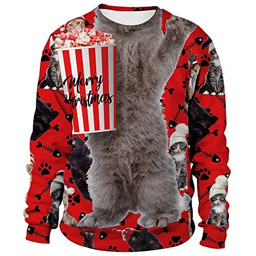 Womens Ugly Christmas Sweatshirt Cat Funny Novelty...
