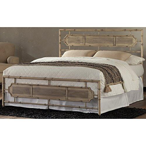 Leggett & Platt Laughlin Snap Bed with Naturalistic Wooden Inspired Panels and Folding Metal Side Rails, Desert Sand Finish, California King