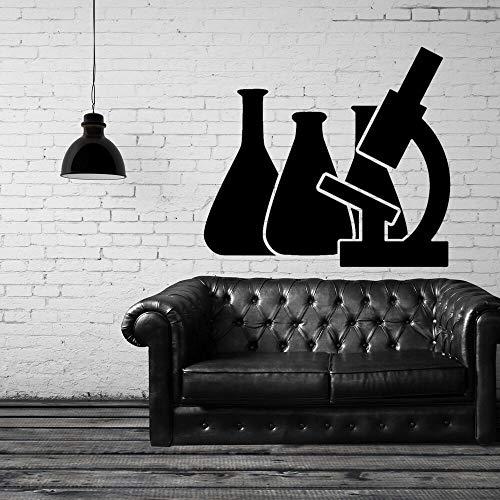 SUPWALS Wandtattoos Chemielabor Reagenzglas Mit Mikroskop Wandaufkleber Chemie Aufkleber Home Wanddekoration 80X57Cm