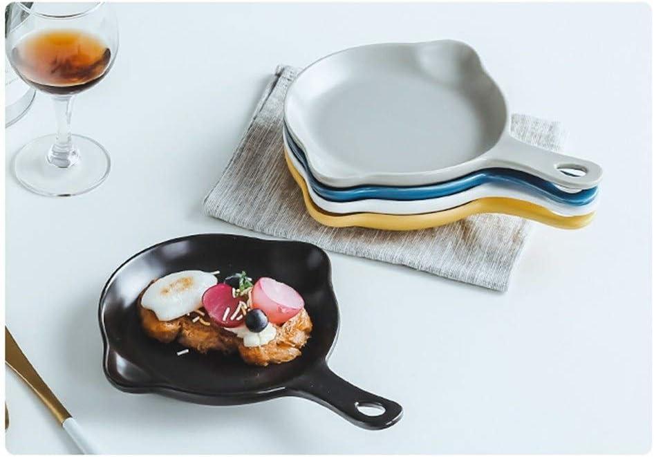 Four rond de plat de cuisson au plat de cuisson de table avec les poignées en céramique, 16.5X 14 Cm cadeau (Couleur : Bleu) Noir