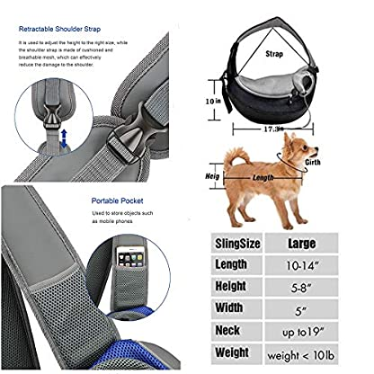 ZHOVAEAL Pet Carrier Dog Cat Hand Free Sling Carrier Outdoor Travel Sling Shoulder Bag for Dogs Cats Walking Subway Daily Use (Fits Small Animals Less Than 9lb Pink) 4
