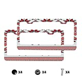 HOSNYE Embroidered Texture License Plate Frame Cross-Stitch Ethnic Ukraine Pattern Metal License Plate Cover Front Plates Frames Car Tag Frame for Women Men
