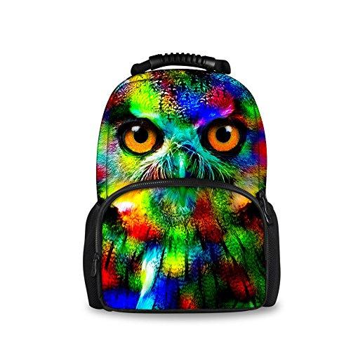 Showudesigns Funky Animal Owl Backpack Bag Teens Boys Girls School Shoulder Bags
