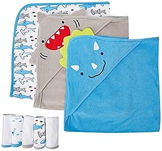 Simple Joys by Carter's 8-Piece Towel and Washcloth Set Juego de Accesorios de Invierno, Tiburón/Dinosaurio, Talla única, Pack de 8