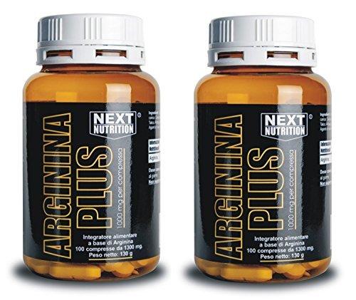 next nutrition Arginina 2 Confezioni da 100 compresse 130 gr 1000 MG x compressa Amminoacido Essenziale Incrementa la Crescita Muscolare Forza Innalza i Livelli di Ossido Nitrico Vigore Sessuale