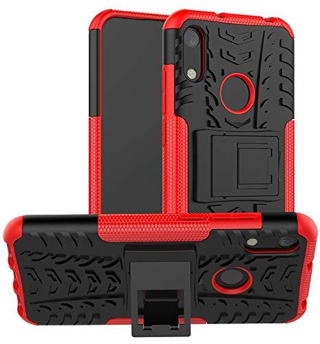 Yiakeng Hülle Huawei Y6 2019/Honor 8A Handyhülle, Doppelschicht Stoßfest Schlank Ganzkörperschutz Mit Ständer für Huawei Y6 2019 (rot)
