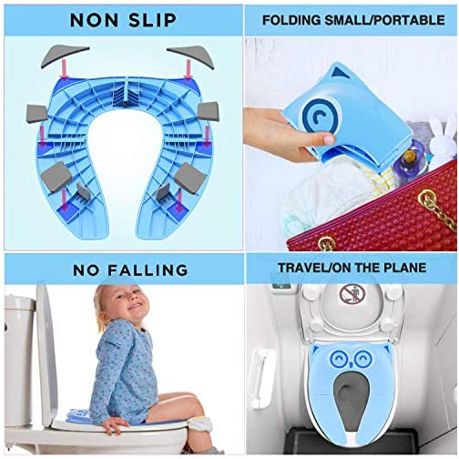 Gimars Upgrade Stable Folding Travel Portable Potty Training Seat Fits Most Toilets, No Falling in with 6 Large Non-slip… 4