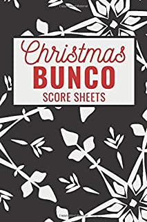 Christmas Bunco Score Sheets: 100 Scoring Pads for Bunco Players, Bunco Score Cards, Score Keeper Tracker Game Record Notebook, Gift Ideas for ... Snowflakes Cover Design, Handy Size 6 x 9