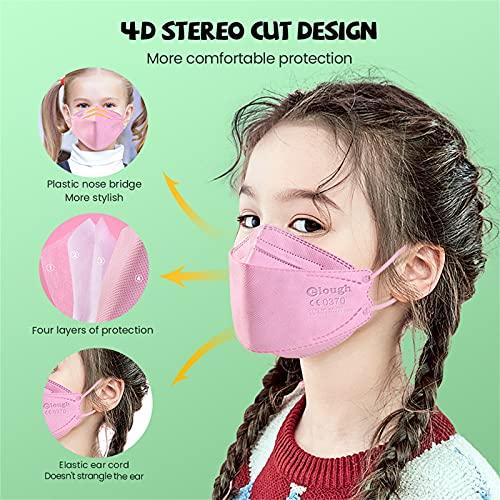JUSHINI Masken Mundschutz Kind, Maske Schutzmaske Gesichtsmaske Mundschutz Mund Und Nasenschutz 50 Stück Rosa Mundschutz Maske Stoff Atmungsaktiv Gesichtsschutz für Junge Mädchen