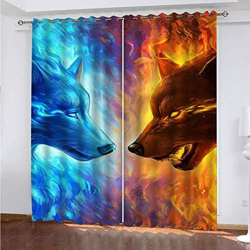 WLHRJ Cortina Opaca en Cocina el Salon dormitorios habitación Infantil 3D Impresión Digital Ojales Cortinas termica - 234x230 cm - Lobo Animal de Fuego de Hielo
