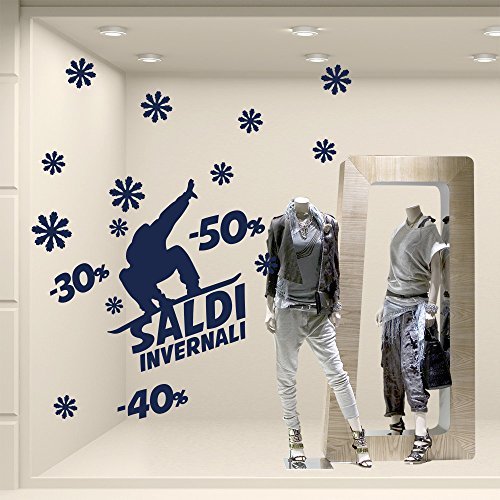 Kina VSD0596 Aufkleber Murali Snowboard - Maße 40 x 120 cm - Blau - Glasscheibe für Winter, Schaufenster, Geschäfte, Sticker, Sticker