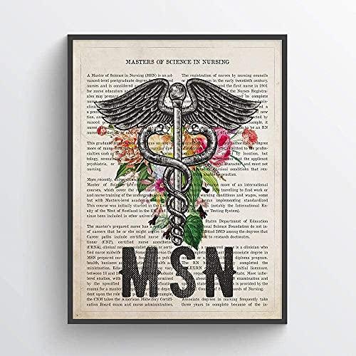 MG global - MSN con estampado de flores - Idea de regalo de graduación de enfermera - Arte de pared sin marco