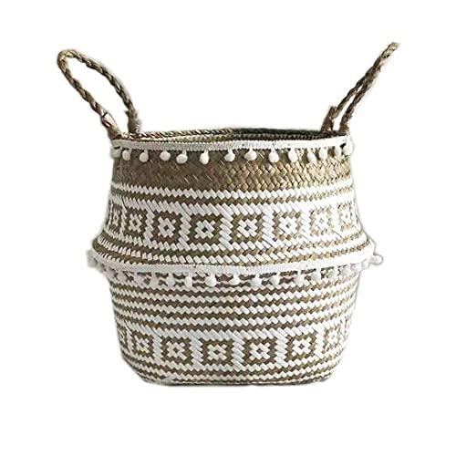 Cesta de mimbre tejida para el hogar, mesa de comedor, toalla de pan de frutas y pan, juego de contenedores pequeños de almacenamiento de cocina (tamaño: 27 cm) cesta de 27 cm