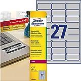 Avery Italia L6011-8 Etichette adesive in Poliestere Argento, 63.5 X 29.6 Mm, 27 Etichette per Foglio, Confezione da 8 Fogli, 215 etichette per confezione, stampanti laser