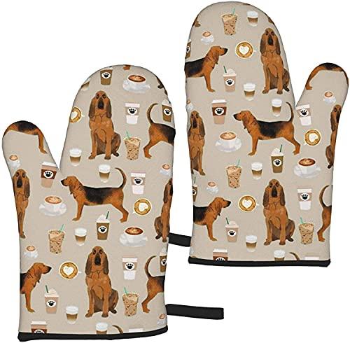 Bloodhound Hunde und Kaffee Ofenhandschuhe Küche Lange Mikrowellenofenhandschuhe, hitzebeständiger 500-Grad-Handschuh für Topflappen Kochen, Essen, Braten, Backen Premium Durable Mitts -1 Paar