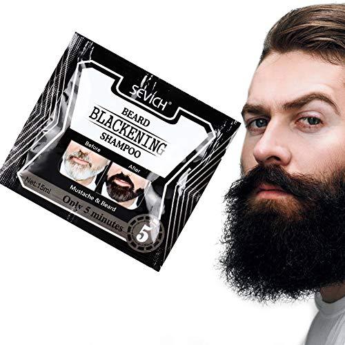 Bart Shampoo Bart Färben,Flüssiges Shampoo Stillessenz, Bartshampoo Bartschwärzungsfarbstoff Natürliches Schwarz Nur 5 Minuten(5pcs,75ML/pcs)