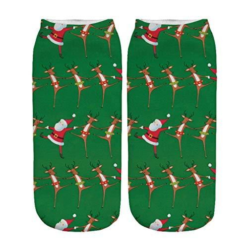 Yumso Noël Chaussettes Hommes Femme Hiver Chaud Chaussettes 3D Impression unique Modèles de Noël Noel Santa Chaussettes Chaussettes de Bateau
