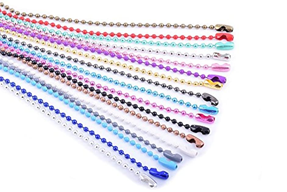 KONMAY 20pcs Mixed Color 2.4mm Size #3 Beads Ball Chain Necklace With Connectors (24'')