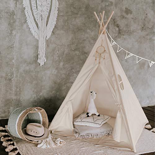 Tipi Dreamin® Spielzelt für Kinder mit Matte, Tragetasche - Perfekt für Kinderzimmer, Drinnen und Draußen -Indianer Tipi Zelt aus Baumwolle - Ecru