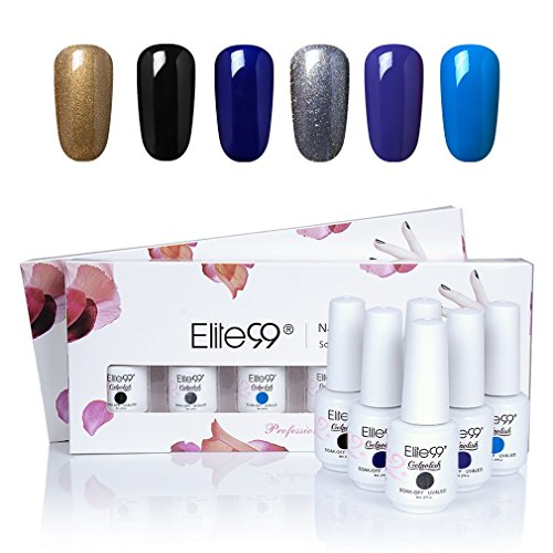 Elite99 6PCS Kit de Esmalte de Uñas de Gel UV LED Color Semipermanente Base Coat Top Coat Manicura y Pedicura 8ml - C009