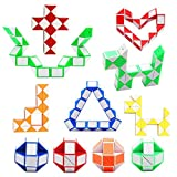 12 Pack 24 Blocks Magic Snake Cube, Mini Plastic Puzzle Cube, Fidget Toys ,Mini Snake Speed Cubes for Kids Party Bag Filler, Random Colors, Party Supplies