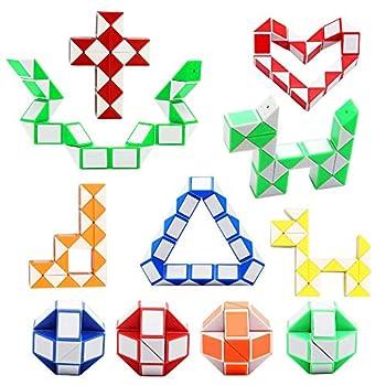 12 Pack 24 Blocks Magic Snake Cube Mini Plastic Puzzle Cube Fidget Toys ,Mini Snake Speed Cubes for Kids Party Bag Filler Random Colors Party Supplies