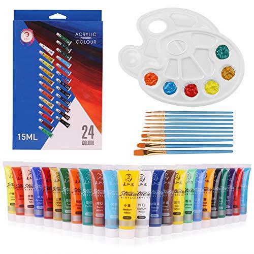 Acrylfarben-Set, 24 Farben + 10 Pinsel + 2 Paletten, 15 ml/Tube, für Papier, Leinwand, Holz, Keramik, Stoff und Handwerk. Ungiftige Pigmente, langlebig, für Anfänger, Studenten, Profis und Künstler