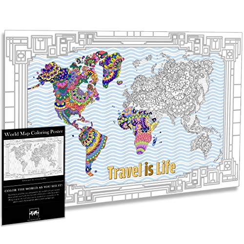 Travel is Life World Map Coloring Poster X-Large Gift Map with Advanced Mandala Designs for Kids & Adults 24' x 36'