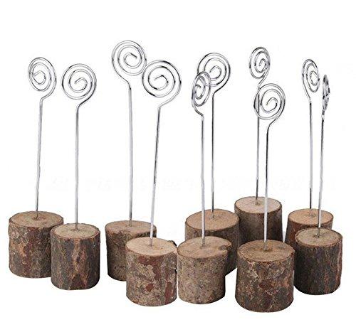 10×Chytaii Hochzeit Sitzkartenhalter Menükartenhalter Platzkartenhalter Fotohalter Tischkartenhalter mit Holzklammern