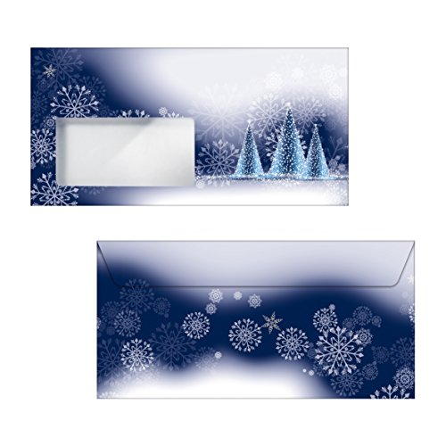 SIGEL DU042 Buste da lettere Natale, Night Sky, DL (110x220 mm), con finestra, 50 pz.