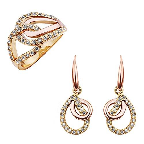 fashionbeautybuy donne cristallo Waterdrop Hollow Out orecchini placcati oro rosa anello wedding party Jewelry Set corpo catena