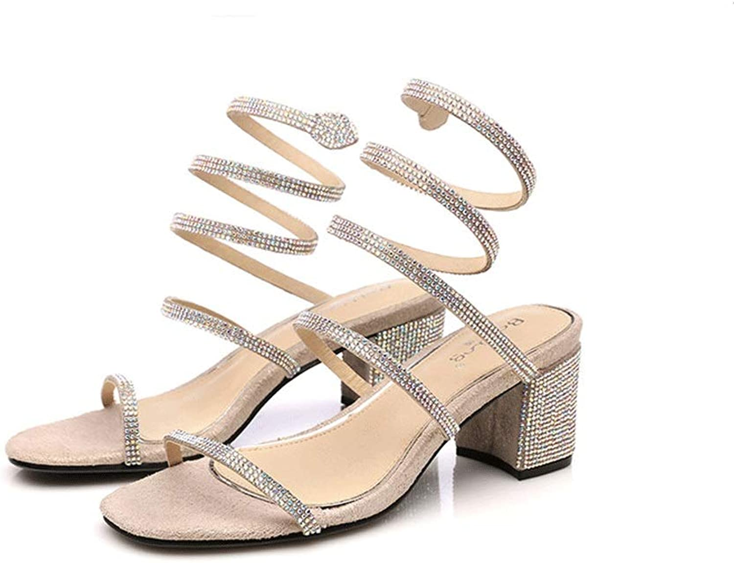 Women's Sandals New Summer Thick with A Word shoes with Rhinestones Wrapped in Roman Small Size Women's shoes