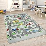 Paco Home Kinderteppich Teppich Kinderzimmer Spielmatte Straßenteppich Spielteppich, Grösse:120x160 cm, Farbe:Grau
